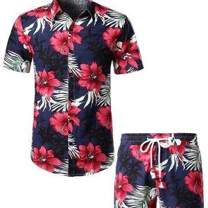 Men's Flower Casual Button Down Shirt /Pant Suits